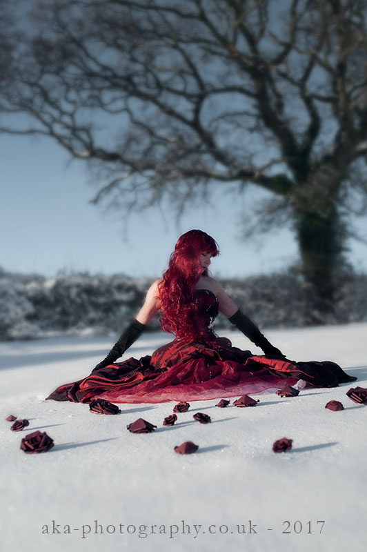 red dress snow